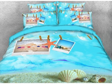 Onlwe 3D Starfish and Shell Postcard Printed 4-Piece Bedding Sets/Duvet Cover