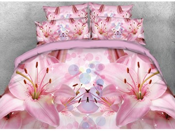 Vivilinen 3D Blooming Pink Lily Princess Style Printed 4-Piece Bedding Sets/Duvet Cover