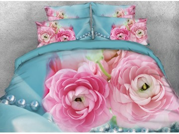 Onlwe 3D Pink Rose Flowers Printed 4-Piece Bedding Sets/Duvet Cover