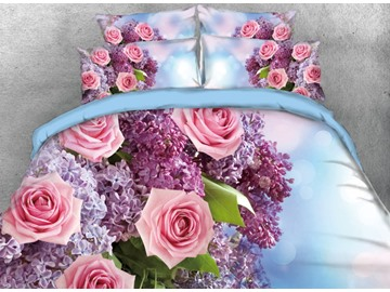 Onlwe 3D Romantic Bouquet of Roses and Hyacinth Printed 4-Piece Bedding Sets/Duvet Cover
