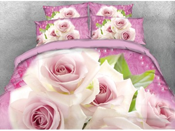 Onlwe 3D Pale Pink Roses Printed 4-Piece Pink Bedding Sets/Duvet Cover