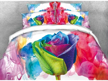 Onlwe 3D Colorful Pen and ink Painting Roses Printed 4-Piece Bedding Sets/Duvet Cover