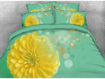 Onlwe 3D Yellow Chrysanthemum Printed 4-Piece Green Bedding Sets/Duvet Cover
