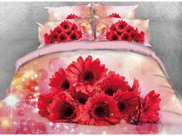 Onlwe 3D Red Daisy with Sparkle Bubbles Printed 4-Piece Bedding Sets/Duvet Cover
