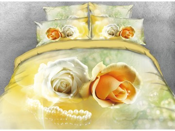 Onlwe 3D Yellow Roses and Pearl Necklace Printed 4-Piece Bedding Sets/Duvet Cover