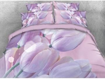 Onlwe 3D Romantic Bouquet of Tulips Printed 4-Piece Bedding Sets/Duvet Cover