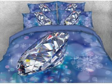 Onlwe 3D Big Diamond Printed 4-Piece Bedding Sets/Duvet Cover