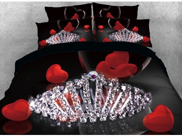 Onlwe 3D Diamonds Crown and Red Heart Printed 4-Piece Bedding Sets/Duvet Cover