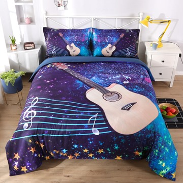 Vivilinen 3D Guitar with Musical Notation Printed 5-Piece Comforter Sets