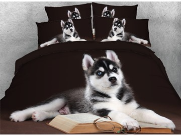 Onlwe 3D Husky with Book and Glasses Printed 4-Piece Black Bedding Sets/Duvet Covers