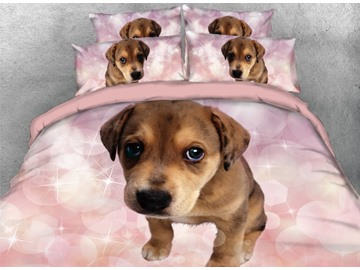 Onlwe 3D Brown Dog with Pink Bubbles Printed 4-Piece Bedding Sets/Duvet Covers