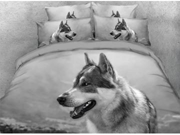 Onlwe 3D Hound Dog Printed 4-Piece Black Bedding Sets/Duvet Covers