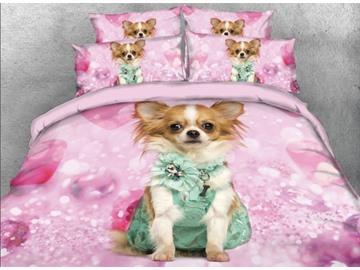 Onlwe 3D Chihuahua with Green Dress Printed 4-Piece Pink Bedding Sets/Duvet Covers