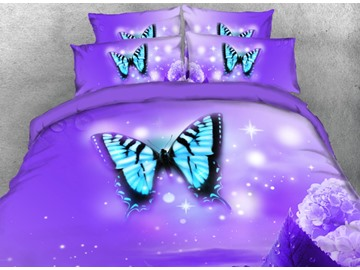 Vivilinen 3D Light Blue Butterfly Printed 4-Piece Purple Bedding Sets/Duvet Covers