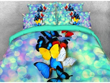 Vivilinen Colorful Butterflies with Sparkle Light Printed 4-Piece 3D Bedding Sets/Duvet Covers