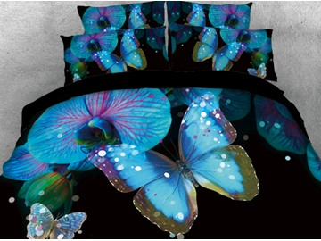 Onlwe 3D Blue Butterfly with Flower Printed 4-Piece Black Bedding Sets/Duvet Covers
