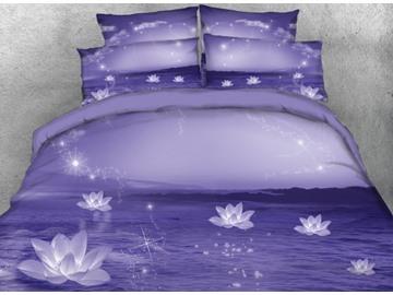 Vivilinen 3D Sparkle Lotus Printed 4-Piece Purple Bedding Sets/Duvet Covers