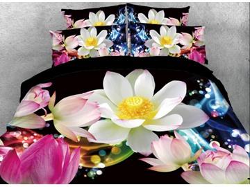 Vivilinen 3D Fancy Pink and White Lotus Printed 4-Piece Black Bedding Sets/Duvet Covers