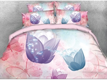 Onlwe 3D Tulips with Butterflies Printed 4-Piece Pink Bedding Sets/Duvet Covers