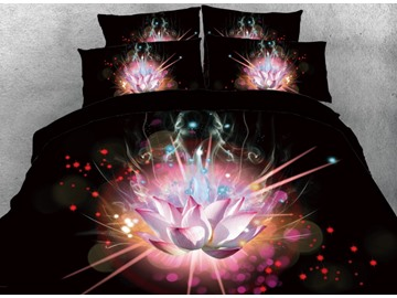 Vivilinen 3D Psychedelic Lotus Printed 4-Piece Black Bedding Sets/Duvet Covers