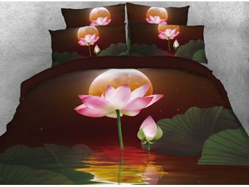 Onlwe 3D Lotus under Moonlight at Starry Night Printed 4-Piece Bedding Sets/Duvet Covers