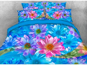 Onlwe 3D Blue and Pink Dasiy Printed 4-Piece Bedding Sets/Duvet Covers