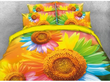 Onlwe 3D Colorful Sunflowers Printed 4-Piece Bedding Sets/Duvet Covers