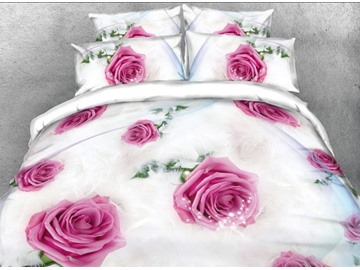 Onlwe 3D Romantic Pink Rose Printed 4-Piece White Bedding Sets/Duvet Covers