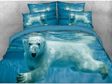 Onlwe 3D Polar Bear in the Ocean Printed 4-Piece Bedding Sets/Duvet Covers