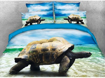Onlwe 3D Sea Turtle by the Sea Printed 4-Piece Bedding Sets/Duvet Covers