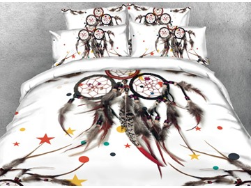 Onlwe 3D Dreamcatcher Printed 4-Piece White Bedding Sets/Duvet Covers