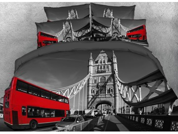 Onlwe 3D London Tower with Red Bus Printed 4-Piece Bedding Sets/Duvet Covers