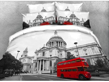 Onlwe 3D Buckingham Palace with Red Bus Printed 4-Piece Bedding Sets/Duvet Covers
