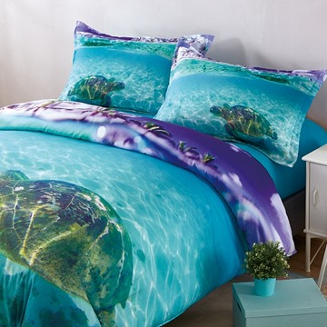 Onlwe 3D Turtle in the Blue Limpid Ocean Printed 4-Piece Bedding Sets/Duvet Covers