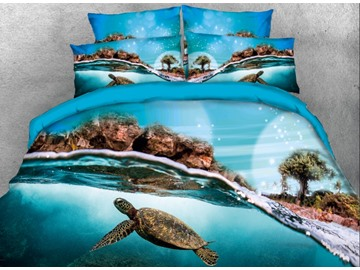 Onlwe 3D Turtle under the Sea Swim Printed 4-Piece Bedding Sets/Duvet Covers