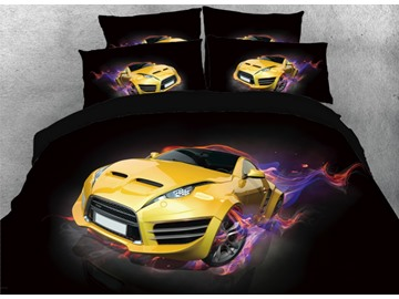 Onlwe 3D Yellow Super Car with Fire Printed 4-Piece Black Bedding Sets/Duvet Covers