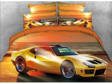 Onlwe 3D Yellow Sports Car Seaside Printed 4-Piece Bedding Sets/Duvet Covers
