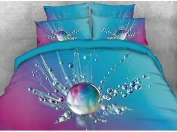 Onlwe 3D Raindrop Dandelion Printed 4-Piece Blue Bedding Sets/Duvet Covers