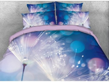 Onlwe 3D Dandelion with Rain and Dew Printed 4-Piece Bedding Sets/Duvet Covers