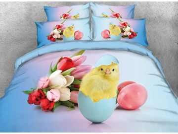 Onlwe 3D Easter Chicken Egg with Tulip Printed 4-Piece Blue Bedding Sets/Duvet Covers