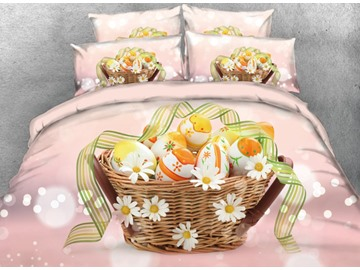 Vivilinen 3D Yellow Easter Eggs with Flower Basket Printed 4-Piece Bedding Sets/Duvet Covers