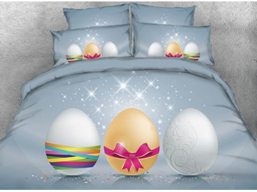 Onlwe 3D Sparkle Present Easter Eggs Printed 4-Piece Bedding Sets/Duvet Covers