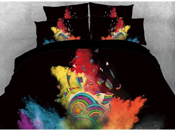 Onlwe 3D Colorful Painting Easter Egg Printed 4-Piece Black Bedding Sets/Duvet Covers