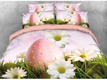 Vivilinen 3D Pink Easter Eggs with White Daisy and Grass Printed 4-Piece Bedding Sets/Duvet Covers