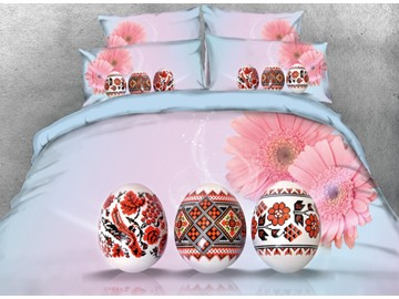 Onlwe 3D Flower Pattern Easter Eggs with Pink Daisy Printed 4-Piece Bedding Sets/Duvet Covers