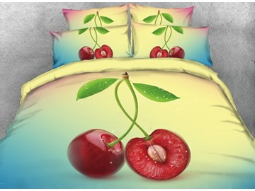 Yummy Cherry Printed 4-Piece Yellow 3D Bedding Sets/Duvet Covers