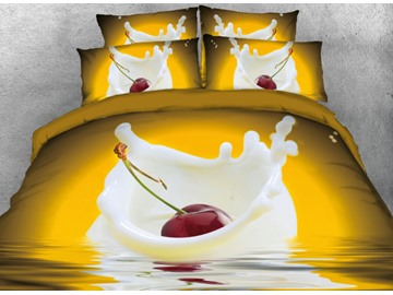 Vivilinen 3D Cherry in the Milk Printed 4-Piece Yellow Bedding Sets/Duvet Covers
