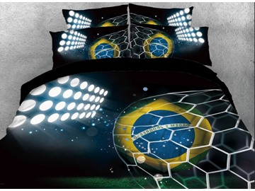 Onlwe 3D Football at the Court with Light Printed 4-Piece Bedding Sets/Duvet Covers