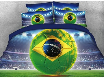 Onlwe 3D Football World Cup Printed 4-Piece Bedding Sets/Duvet Covers