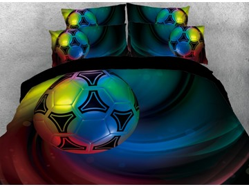 Onlwe 3D Colorful Football Printed 4-Piece Bedding Sets/Duvet Covers
